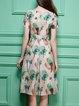 Apricot Short Sleeve Floral Midi Dress