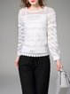 White Pierced Crew Neck Sweet H-line Blouse