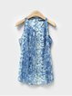 Blue Polyester Sleeveless Printed Tank