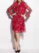 Red Long Sleeve H-line Stand Collar Floral Midi Dress