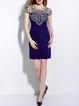 Dark Blue Short Sleeve Cotton Crew Neck Mini Dress