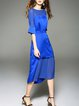 Blue Crew Neck Half Sleeve Paneled Midi Dress