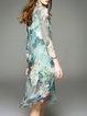 Green Printed Crew Neck Long Sleeve Silk Midi Dress