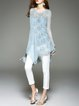 Blue Silk Casual Plain Tunic