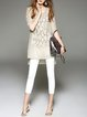 Khaki Graphic Casual Appliqued Crew Neck Tunic