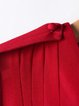 Red Paneled Sleeveless V Neck Midi Dress