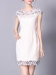 Short Sleeve Sheath Appliqued Casual Mini Dress