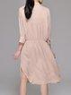 3/4 Sleeve Shirt Collar Plain Silk Casual Midi Dress