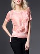 Pink Gradient Crew Neck Short Sleeve H-line Blouse