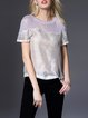Gray Casual Crew Neck H-line Blouse