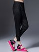 Black Plain Pockets Casual Polyester Straight Leg Pants