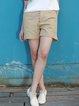 Khaki H-line Cotton Casual Shorts