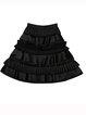 Black Plain Tiered Casual Mini Skirt