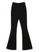Black Plain Casual Nylon Flared Pants