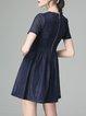 Navy Blue Short Sleeve Ribbed Mesh A-line Mini Dress