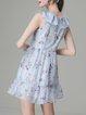 Blue Girly Floral-print Mini Dress