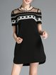 Black Casual Crew Neck Woven Mini Dress
