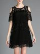 Black Pierced Short Sleeve Two Piece Mini Dress