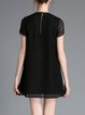 Black Casual Embroidered Mini Dress