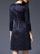 Blue Crew Neck Long Sleeve Color-block Midi Dress