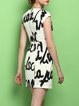 Polyester Simple Sheath Short Sleeve Printed Mini Dress