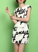 White Short Sleeve Printed Sheath Mini Dress
