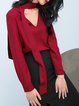Red Viscose V Neck Sweet Blouse