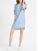 Blue Crew Neck Pockets Sleeveless Mini Dress