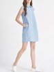 Blue Pockets Casual Shirt Collar Mini Dress
