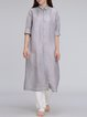 Gray Buttoned Shift Linen Simple Coat