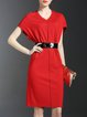 Red Sheath V Neck Work Plain Midi Dress