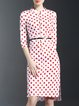 Polka Dots 3/4 Sleeve Stand Collar Casual Cotton-blend Midi Dress with Belt