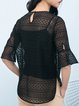 Black Jacquard Polyester Half Sleeve T-Shirt