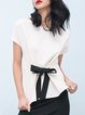 Short Sleeve Crew Neck Plain Bow Blouse