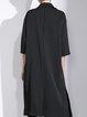 Black Half Sleeve H-line Viscose Pockets Coat
