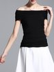 Black Simple Off Shoulder T-Shirt