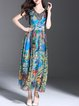 Blue Floral Boho V Neck Maxi Dress