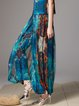 Blue Sweet Polyester A-line Abstract Wide Leg Pants