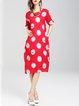 Simple H-line Polka Dots Half Sleeve Pockets Midi Dress
