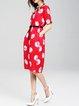 Polka Dots Casual H-line Half Sleeve Midi Dress