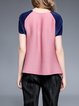 Pink Short Sleeve Crew Neck Blouse
