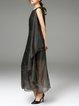 Black Shift Silk Crew Neck Sleeveless Maxi Dress