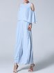 Blue 3/4 Sleeve Crew Neck Polyester Jumpsuit