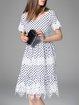White Bateau/boat Neck Short Sleeve Midi Dress