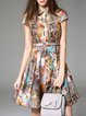 Multicolor Appliqued Cotton Short Sleeve Mini Dress