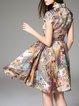 Multicolor Appliqued Cotton Short Sleeve Mini Dress