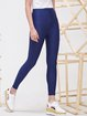 Blue Spandex Casual Plain Leggings