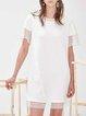 White Shift Plain Crew Neck Casual Mini Dress