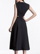 Black Simple Polyester Midi Dress