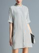 Shift Stand Collar Stripes Half Sleeve Simple Shirt Dress